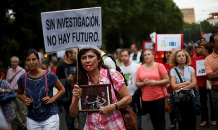 Young scientists protest in Madrid against cuts to research budgets in September 2013.