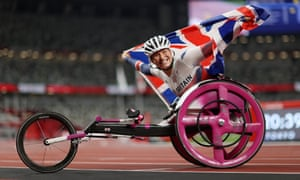 Samantha Kinghorn celebrates winning bronze in the Women's 100m - T53 final for Paralympics GB.