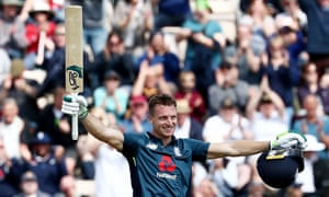 Jos Buttler of England celebrates reaching his blistering century against Pakistan.