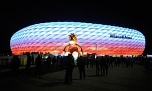 A general view of the stadium prior to the UEFA Champions League Group F match between FC Bayern Muenchen and Arsenal FC at the Allianz Arena.