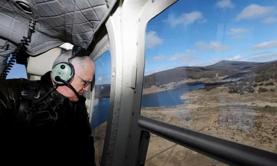 Prime Minister Malcolm Turnbull during an aerial tour of the region via helicopter, after his visit to the Snowy Hydro Tumut 2 power station.