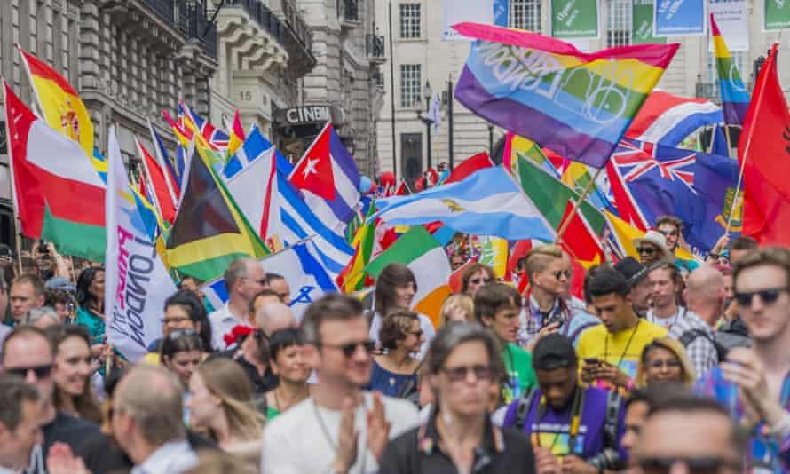 London gay pride march, 8 July 2017.