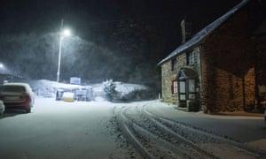 Overnight snowfall at Brompton Regis, Exmoor National Park