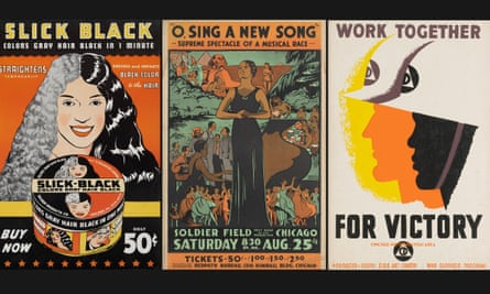 A selection of materials from Charles Dawson: an advertisement for Slick Black, O Sing a New Song, plus Together for Victory by an unknown designer.