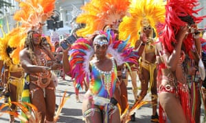 Masquerade dancers in action at the Notting Hill carnival