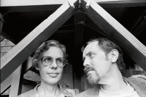 Artist and filmmaker Bruce Conner with his artist-wife Jean Conner under a cobweb in their yard.