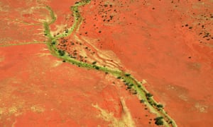 Aerial view of Henbury cattle station in Alice Springs, Australia.