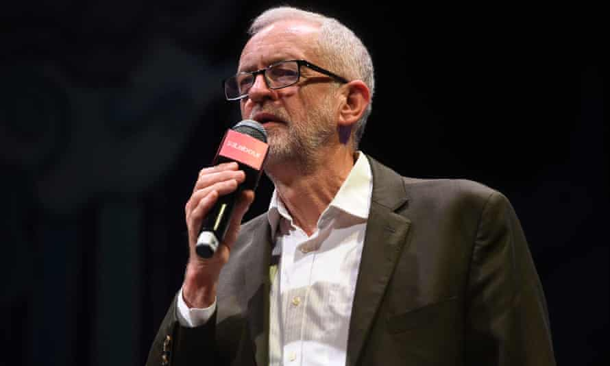 Jeremy Corbyn speaking at the Theatre Royal Stratford East on Sunday.