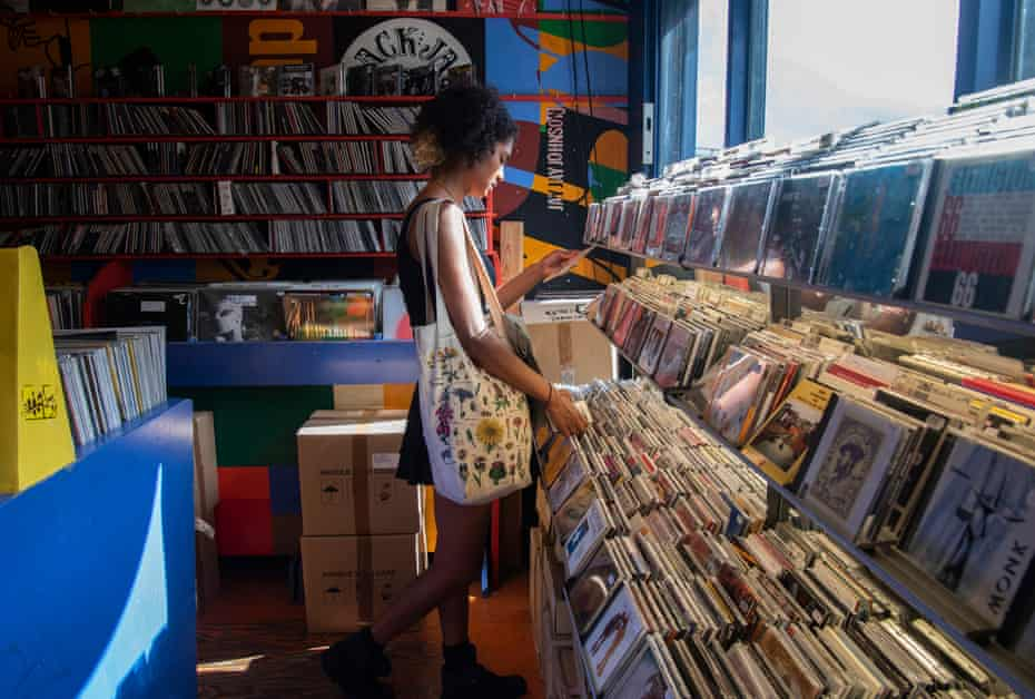 Amber Sadhu-Gray shopping for vinyl at Honest Jon's