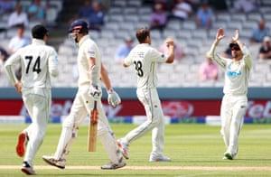 Tim Southee celebrates the wicket of Zak Crawley