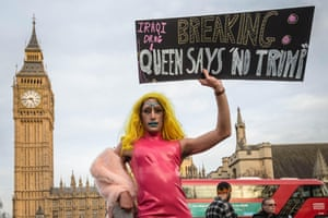 Drag queen Amrou Al-Kadhi takes part in an anti-Trump protest in central London, February 2017