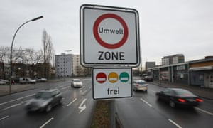A sign marks the beginning of the environment zone in Berlin