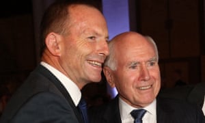 The Ramsay Centre board includes former prime ministers Tony Abbott (left) and John Howard.