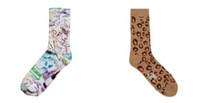 L-R scribbled, £4 women's (W), weekday.com leopard, £20, men's (M), by Rostersox, from goodhood.com