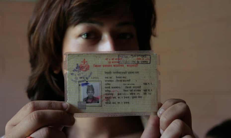 Bhumika Shrestha and her male ID card