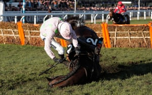 Ruby Walsh falls off Benie Des Dieux at the final hurdle while clear of the field.