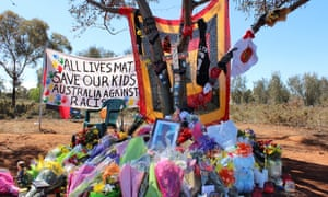 A memorial at the Gribble Creek Reserve near Clancy Street in Kalgoorlie-Boulder, Western Australia, where 14-year-old Elijah Doughty was killed.