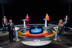 Participants in BBC Scotland's political leaders debate last night: (from left to right)Anas Sarwar, Willie Rennie, Nicola Sturgeon, Sarah Smith (the presenter), Lorna Slater and Douglas Ross.