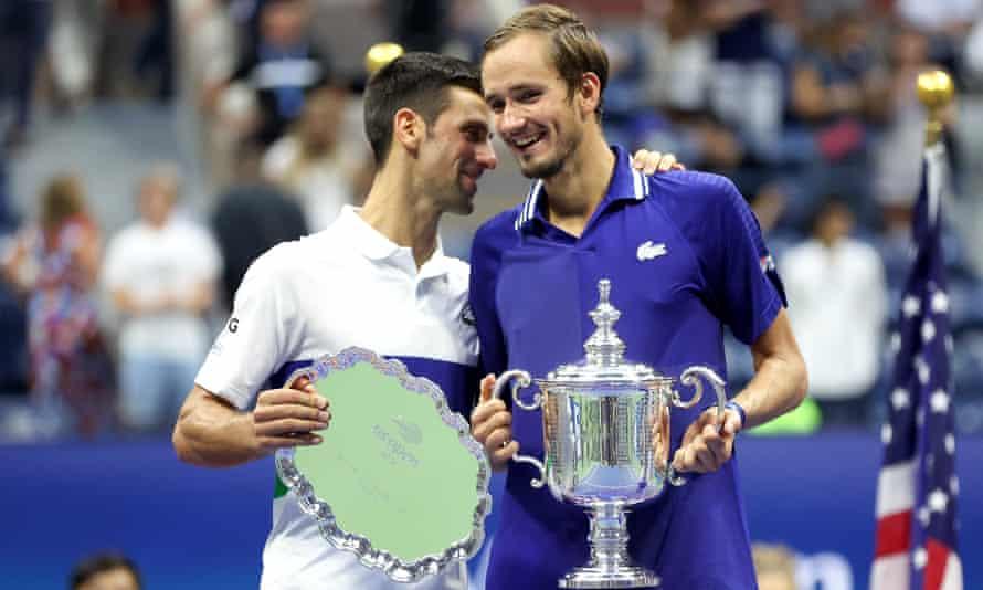 Novak Djokovic (left) congratulates Daniil Medvedev after his victory in the men's singles final.