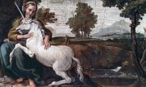 A Virgin with a unicorn, 1604-05, fresco by Domenico Zampieri known as il Domenichino (1581-1641), Gallery of Palazzo Farnese, Rome, Italy.