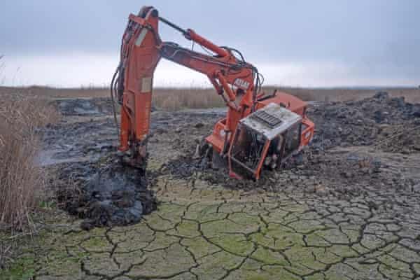An excavator machine sinking in degraded wetland in the Danube Delta Biosphere Reserve