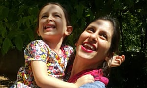Nazanin Zaghari-Ratcliffe embraces her daughter Gabriella.