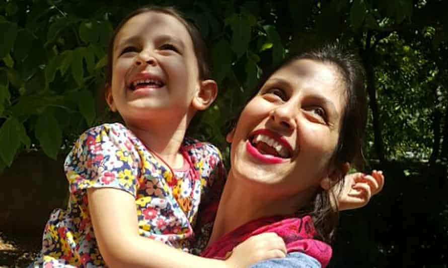Nazanin Zaghari-Ratcliffe (R) embraces her daughter Gabriella in Damavand, Iran following her three-day release from prison.