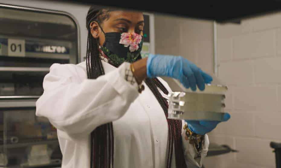 A Pfizer technician at work in research and development, New York.