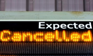 Sign for cancelled trains.