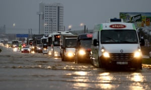 A flooded road after heavy rains hit Turkey's north-western province of Edirne earlier this week.