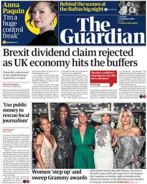 Guardian front page, Tuesday 12 February 2018