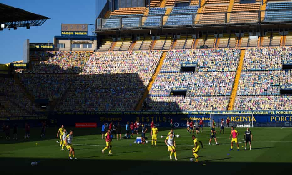 Villarreal warming up before a game in September – the club's membership is so large, 'if this was Madrid you'd need 10 Bernabéus' to accommodate them all.