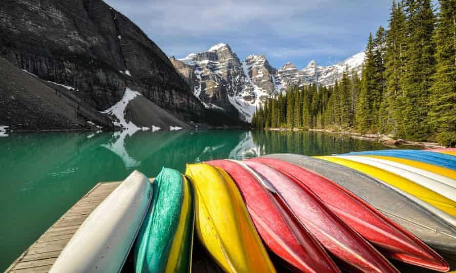 Colouful canoes at Moraine Lake in Banff National Park, Canada