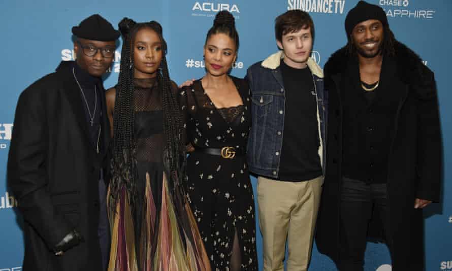 Ashton Sanders, KiKi Layne, Nick Robinson, Sanaa Lathan and director Rashid Johnson at the premiere of his film Native Son.