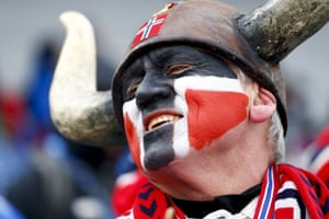 Viking horns plus flag face-paint is a classic Scandinavian method of showing support – in this case for Norway