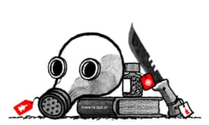 Illustration by David Foldvari of a gas mask, hunting knife, bottle of pills and a copy of Michael Caine's autobiography