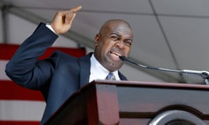 Newark Mayor Ras J Baraka, the son of Amina and Amiri, addresses a large gathering after being sworn-in on 1 July 2014.