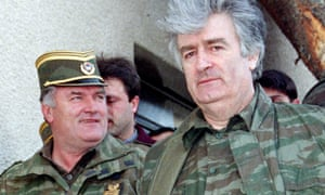 Ratko Mladić and Radovan Karadžić in April 1995.