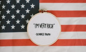 """I'm Very Rich"" Donald Trump embroidered quote"