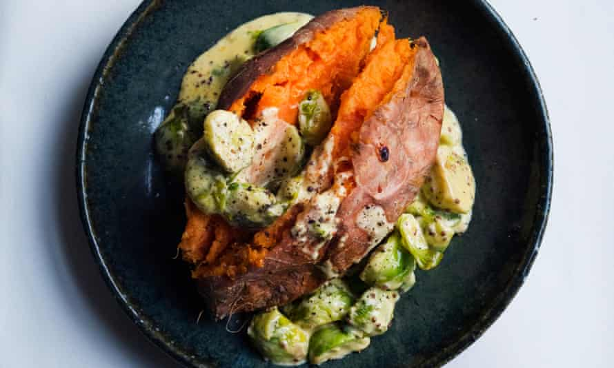 Vegetarian delight: sweet potato, Brussels and cream.