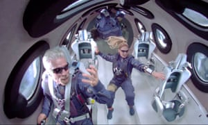 A framegrab from a video made available by Virgin Galactic shows Sir Richard Branson aboard SpaceShip Two Unity 22 as they attain zero gravity during their flight after take off from Spaceport America.