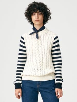 Model in striped sleeve jumper, £285, and-daughter.com (modelshot1)