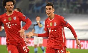 Bayern Munich's Jamal Musiala celebrates scoring.