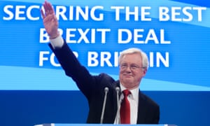David Davis, the Brexit secretary, at the Conservative conference.