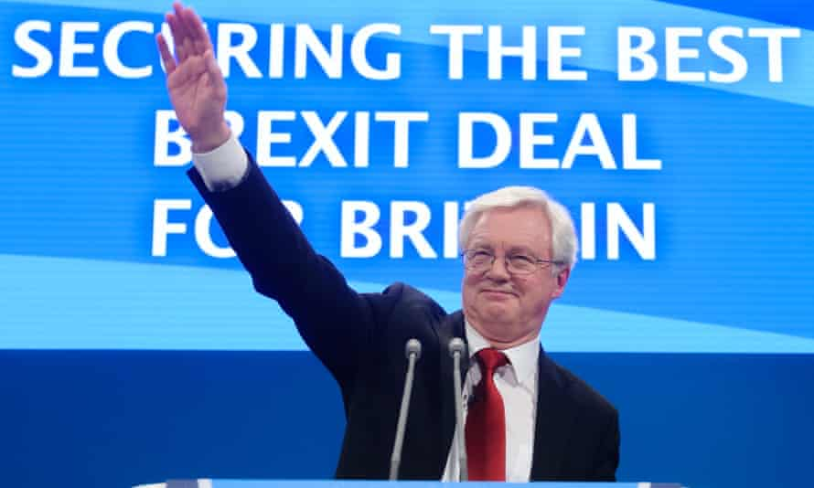 David Davis, the Brexit secretary, at the Conservative conference.