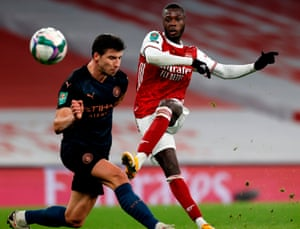 Arsenal's Nicolas Pepe has a shot at goal.