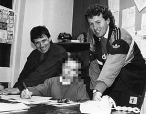 Barry Bennell, right, with Crewe's then manager, Dario Gradi, in March 1989.
