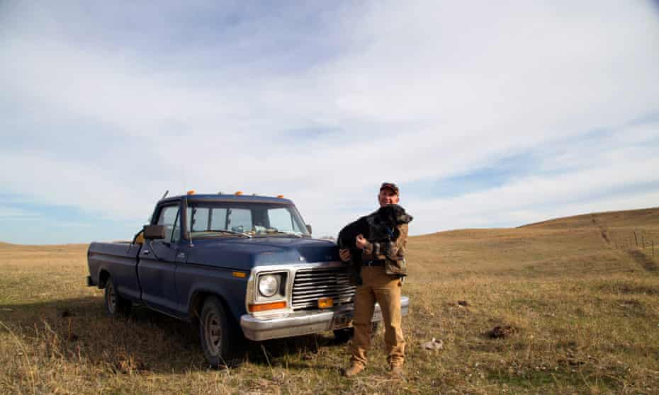 John Harter and his 1978 Ford F-150 truck on the cattle pasture the Keystone XL is set to cross.