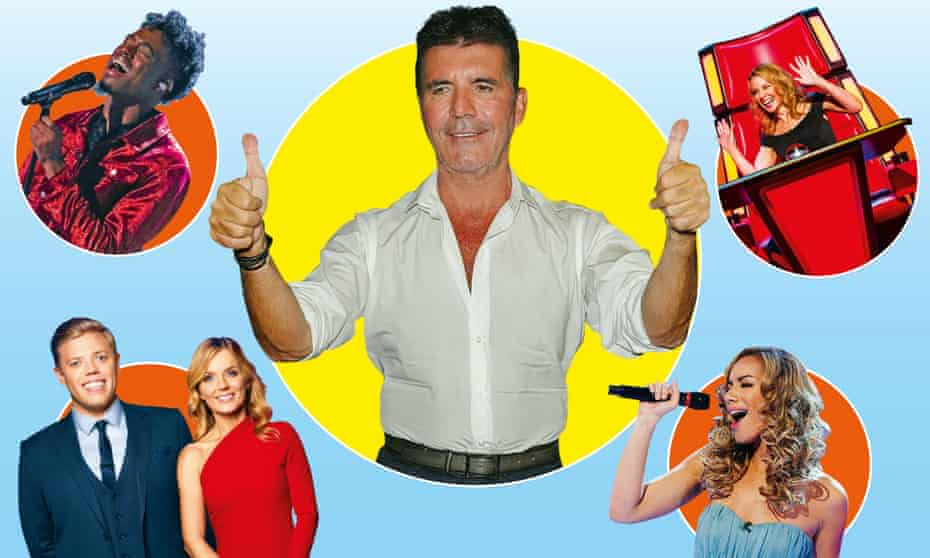 Clockwise from top left: The X Factor; Simon Cowell; The Voice; Leona Lewis; All Together Now.