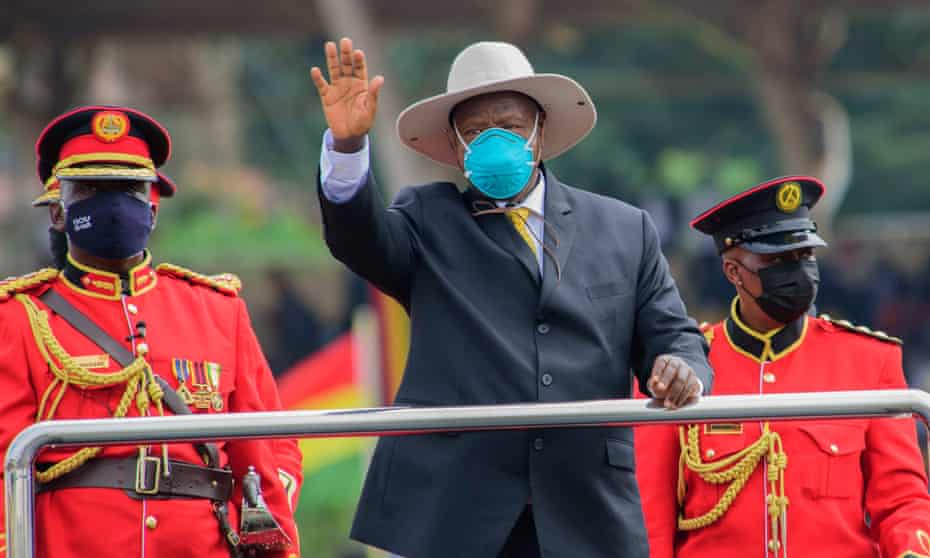 Yoweri Museveni salutes during the inauguration ceremony of his sixth term as President of Uganda in Kampala on May 12.